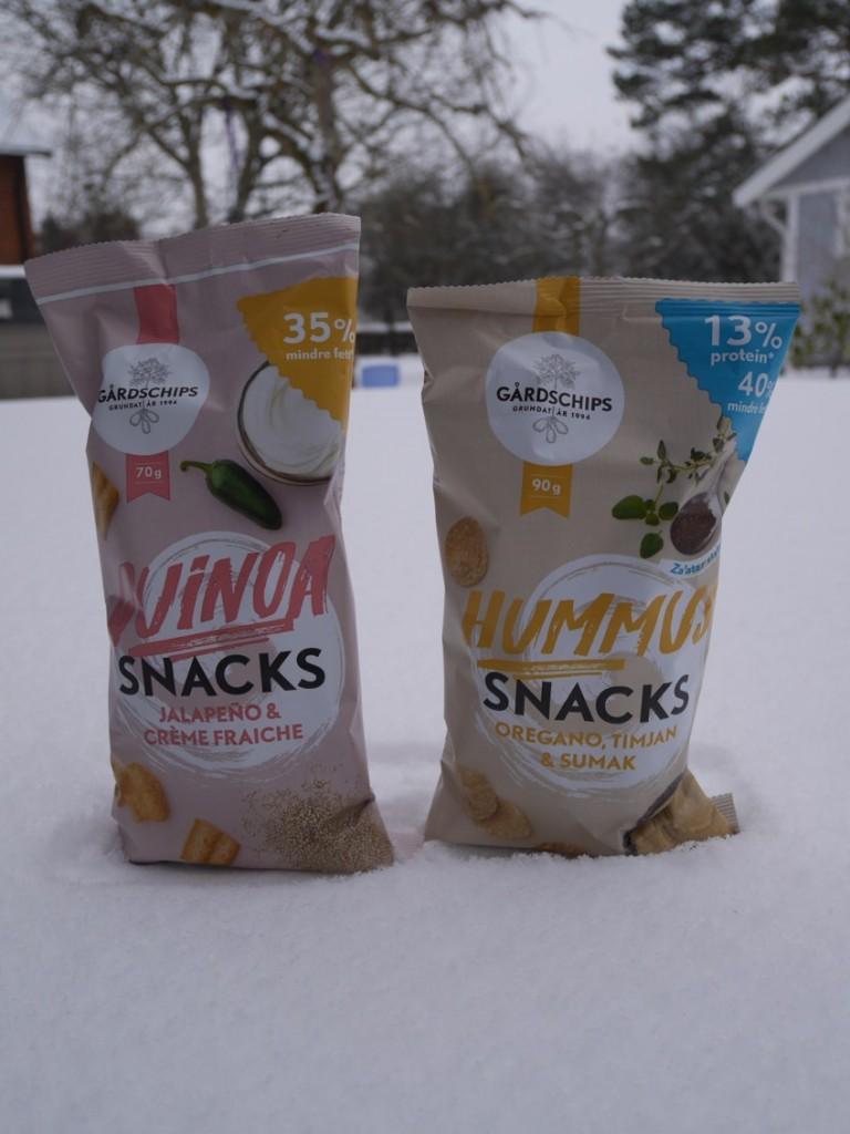 Quinoa-snacks och Hummus-snacks.