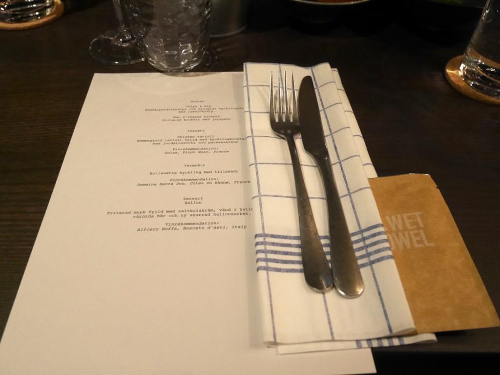 Dagens meny som är ett urval av det som kommer finnas på ordinarie menyn vid öppning.