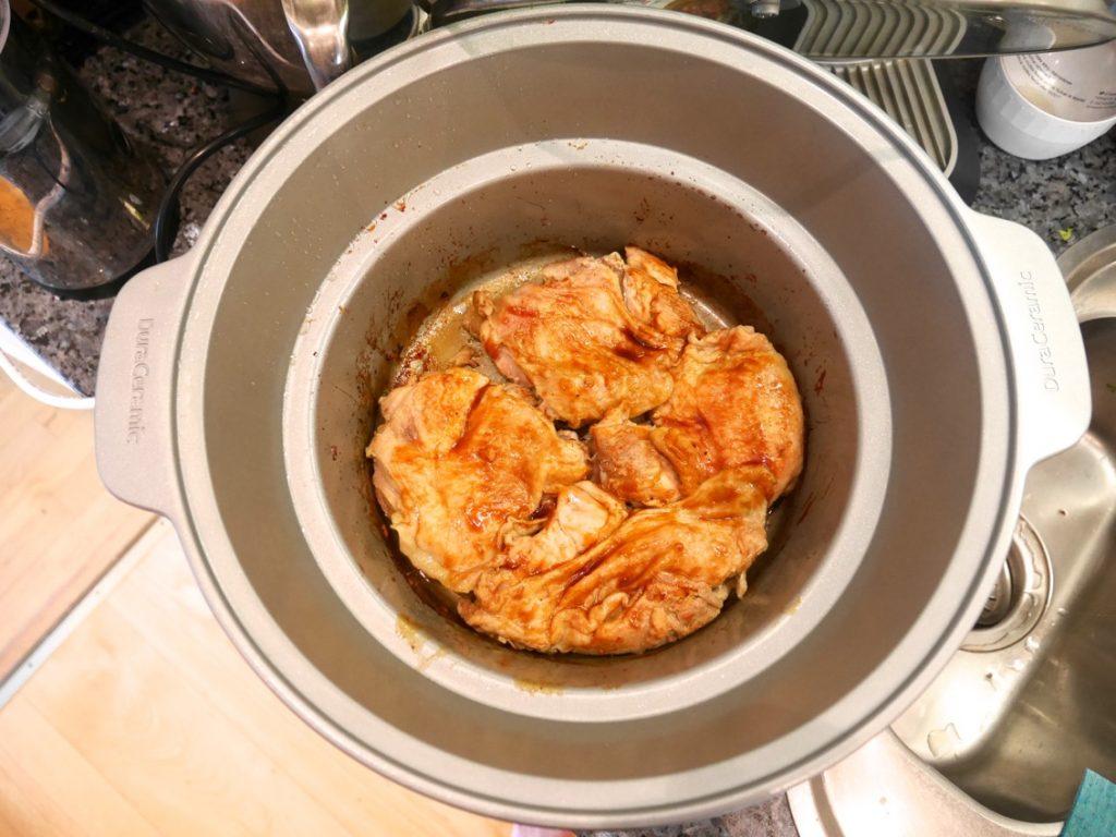 Färdig kyckling efter två timmar på hög effekt.