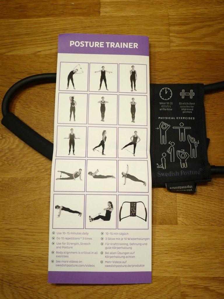 Förslag på träningsövningar man kan utföra med Posture trainer.