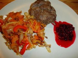 Senapsbiff med stekta grönsaker