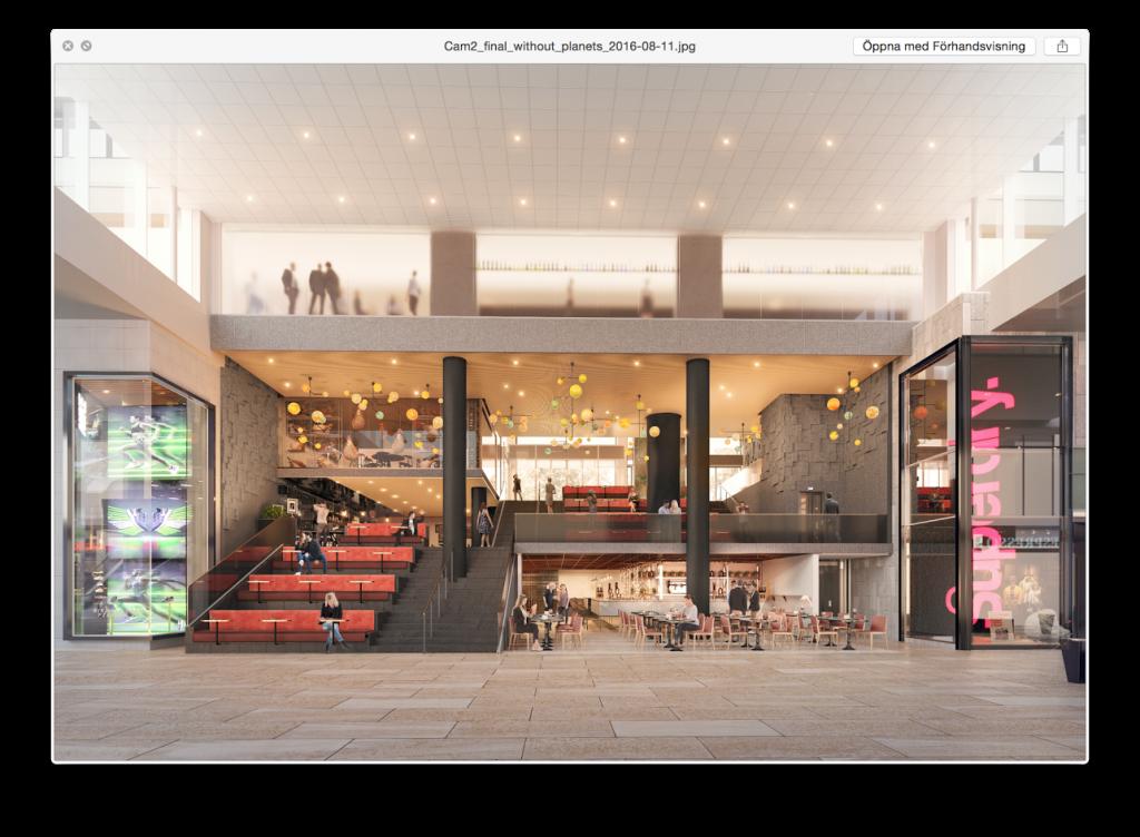 Gallerians nya, kommande utgång mot Brunkebergstorg.